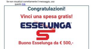 Vinci spesa Esselunga, buono Esselunga da 500 euro: è una bufala!