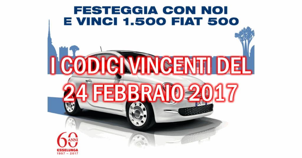 Codici vincenti Fiat 500 del 24 febbraio 2017