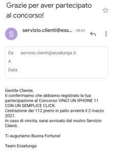 email conferma esselunga concorso vinci 112 iphone 11
